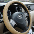 Classic Chanel PU Leather Auto Car Steering Wheel Covers 15 inch 38CM - Beige