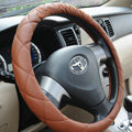 Classic Chanel PU Leather Auto Car Steering Wheel Covers 15 inch 38CM - Brown