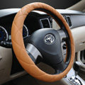 Classic Chanel PU Leather Auto Car Steering Wheel Covers 15 inch 38CM - Coffee