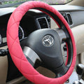 Classic Chanel PU Leather Auto Car Steering Wheel Covers 15 inch 38CM - Pink