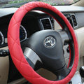 Classic Chanel PU Leather Auto Car Steering Wheel Covers 15 inch 38CM - Red