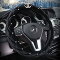 Classic Chanel Sheepshin Auto Car Steering Wheel Covers 15 inch 38CM - Black