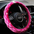Classic Chanel Sheepshin Auto Car Steering Wheel Covers 15 inch 38CM - Pink