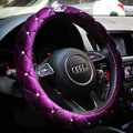Classic Chanel Sheepshin Auto Car Steering Wheel Covers 15 inch 38CM - Purple