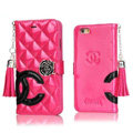 Classic Fringed Chanel Rose Folder Leather Book Flip Holster Cover For iPhone 5 - Rose