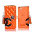 Classic Fringed Chanel Rose Folder Leather Book Flip Holster Cover For iPhone 6 - Orange