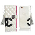 Classic Fringed Chanel Rose Folder Leather Book Flip Holster Cover For iPhone 6 - White