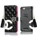 Classic Fringed Chanel Rose Folder Leather Book Flip Holster Cover For iPhone 6S Plus - Black Rose