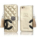 Classic Fringed Chanel Rose Folder Leather Book Flip Holster Cover For iPhone 7 - Gold