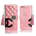 Classic Fringed Chanel Rose Folder Leather Book Flip Holster Cover For iPhone 7 - Pink