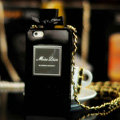 Classic Miss Dior Perfume Bottle Chain Silicone Cases for iPhone 5S - Black