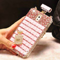 Classic Swarovski Chanel Perfume Bottle Parfum N5 Rhinestone Cases For Samsung Galaxy Note 4 N9100 - Pink