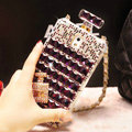 Classic Swarovski Chanel Perfume Bottle Parfum N5 Rhinestone Cases For Samsung Galaxy S5 i9600 - Purple