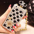 Classic Swarovski Chanel Perfume Bottle Parfum N5 Rhinestone Cases For iPhone 5S - White Black