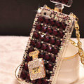 Classic Swarovski Chanel Perfume Bottle Parfum N5 Rhinestone Cases for iPhone 5S - Purple