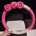 Floral Chanel PU Leather Auto Car Steering Wheel Covers 15 inch 38CM - Rose White