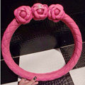 Floral Chanel PU Leather Auto Car Steering Wheel Covers 15 inch 38CM - Rose