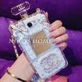 Floral Chanel Perfume Bottle Crystal Case For Samsung GALAXY Note 4 N9100 - White