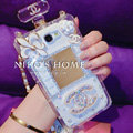 Floral Chanel Perfume Bottle Crystal Case For Samsung GALAXY S5 i9600 - White