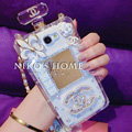 Floral Chanel Perfume Bottle Crystal Case For Samsung GALAXY S6 G920F G9200 - White