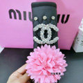 Floral Diamond Chanel Leather Auto Seat Safety Belt Covers Car Decoration 2pcs - Pink