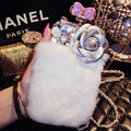Floral Swarovski Chanel Perfume Bottle Rex Rabbit Rhinestone Cases For iPhone 6 - White