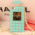 Fringe Swarovski Chanel Perfume Bottle Good Rhinestone Cases For iPhone 5S - Blue