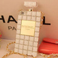 Fringe Swarovski Chanel Perfume Bottle Good Rhinestone Cases For iPhone 5S - White