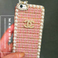 Funky Chanel Pearl Crystal Silicone Cases For iPhone 5S - Pink