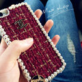 Funky Chanel Pearl Crystal Silicone Cases For iPhone 7 - Claret