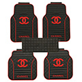 High Quality Chanel Universal Auto Carpet Car Floor Mats Rubber 5pcs Sets - Red Black