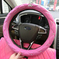 Luxury Chanel Leather Auto Car Steering Wheel Covers 15 inch 38CM - Rose