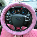 Luxury Chanel PU Leather Auto Car Steering Wheel Covers 15 inch 38CM - Pink