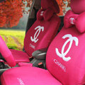 Luxury Chanel Universal Auto Car Seat Covers Sandwich Full Set 18pcs - Rose