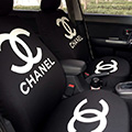 Luxury Chanel Universal Auto Seat Covers For Cars Cotton Full Set 18pcs - Black