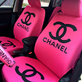 Luxury Chanel Universal Auto Seat Covers For Cars Cotton Full Set 10pcs - Rose