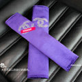 Luxury Chanel Velvet Automotive Seat Safety Belt Covers Car Decoration 2pcs - Purple