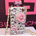 Luxury Swarovski Chanel Perfume Bottle Floral Rhinestone Cases For Samsung Galaxy S5 i9600 - Pink