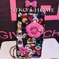 Luxury Swarovski Chanel Perfume Bottle Floral Rhinestone Cases For Samsung Galaxy S5 i9600 - Rose