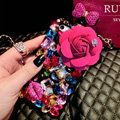 Luxury Swarovski Chanel Perfume Bottle Floral Rhinestone Cases For iPhone 5S - Rose