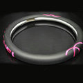 PU Leather Chanel Auto Car Steering Wheel Covers 15 inch 38CM - Rose