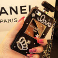 Princess Swarovski Chanel Perfume Bottle Love Rhinestone Cases for iPhone 7 Plus - Black