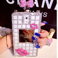 Red lips Chanel Perfume Bottle Crystal Case For Samsung GALAXY S5 i9600 - White