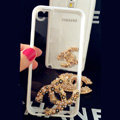 Unique Chanel Crystal Silicone Cases For iPhone 5S - White
