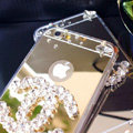 Unique Chanel Mirror Crystal Silicone Cases For iPhone 5S - Grey