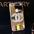 Unique Chanel Mirror Crystal Silicone Cases For iPhone 6S Plus - Champagne