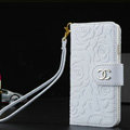 Unique Chanel Rose Pattern Genuine Leather Flip Cases For iPhone 5S - White