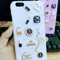 Unique Diamond Chanel Matte Hard Back Cases For iPhone 6 Plus - White