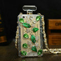 Unique Swarovski Chanel Perfume Bottle Floral Rhinestone Cases For iPhone 5 - Green