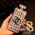 Unique Swarovski Chanel Perfume Bottle Good Rhinestone Cases For iPhone 5S - White